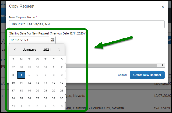 """Green highlight showing """"Starting date for New Request"""" being filled out."""