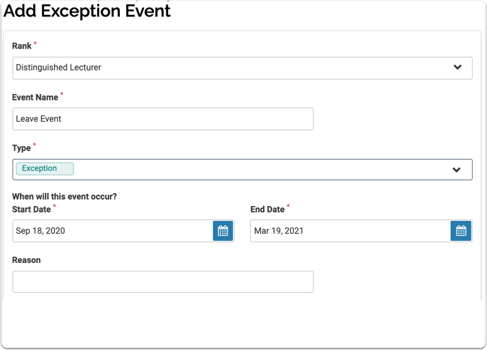 Add Exception Event