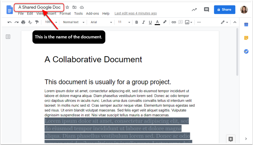 The name of the google doc is highlighted