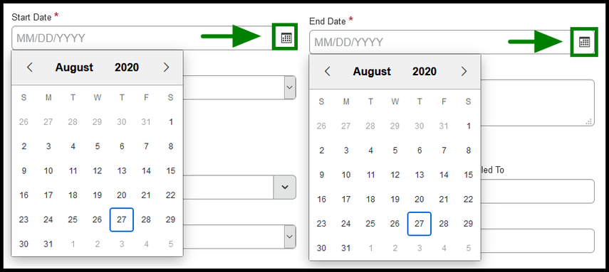 Start date and End date calendar option.