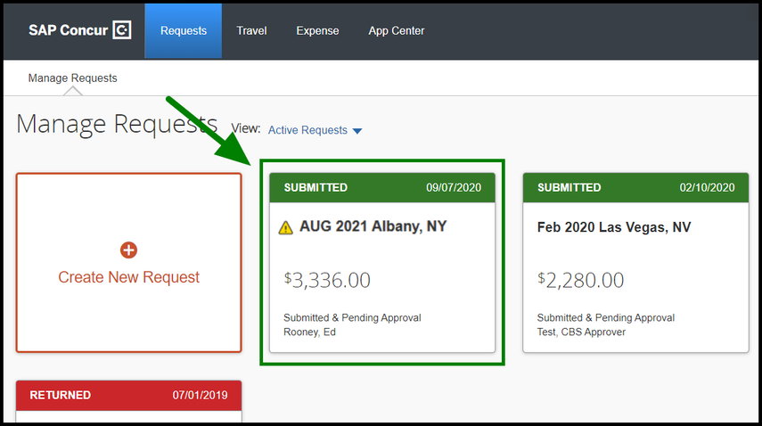 """Manage Requests tab. On the green tile, there is a status field that is displaying the following text: Submitted & Pending Approval - Rooney, Ed."""" This text is highlighted in green, with an arrow pointing towards it."""