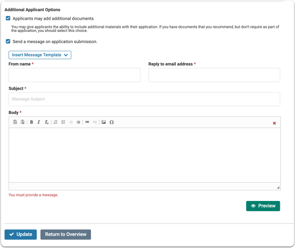 Create an automated message to send applicants when they submit an application