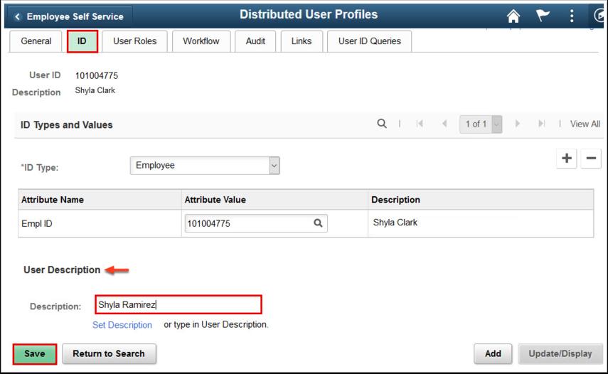Distributed User Profile page - ID tab