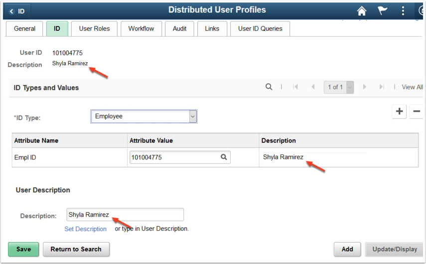 Distributed User Profile page - ID tab with new name