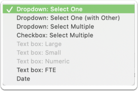 Display selected = Dropdown: Select One