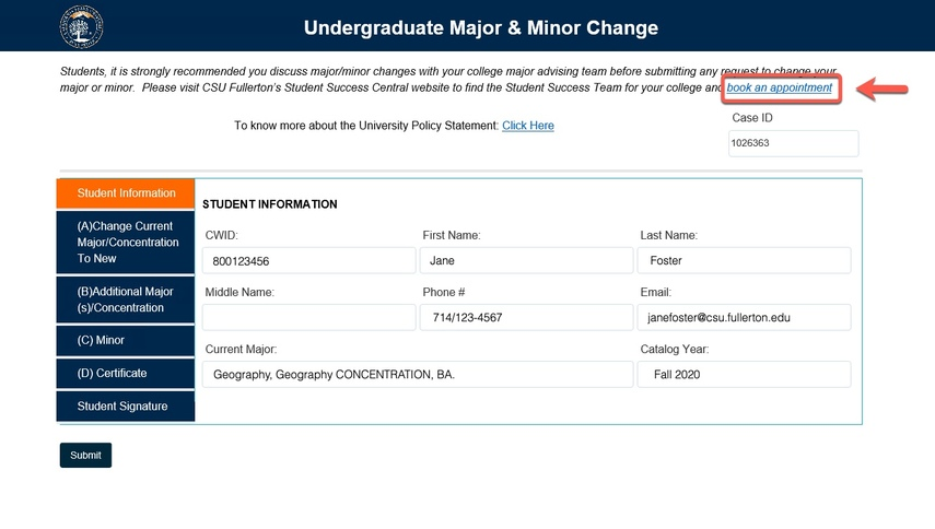 Arrow pointing to book and appointment link on Student Information tab