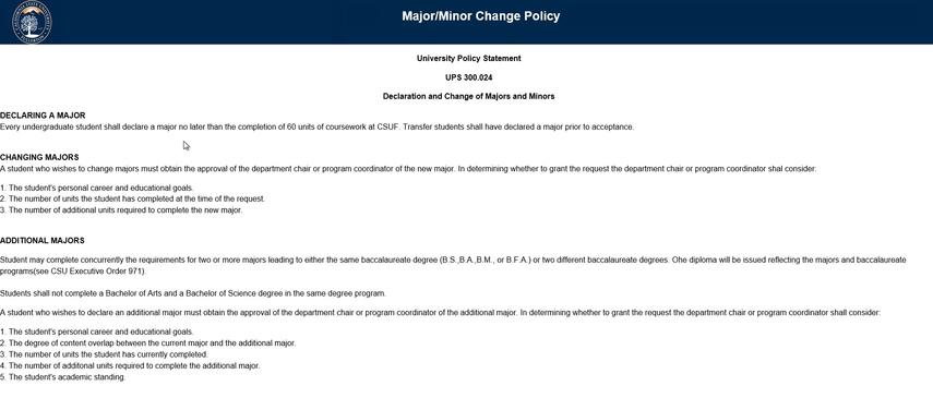 University Policy webpage