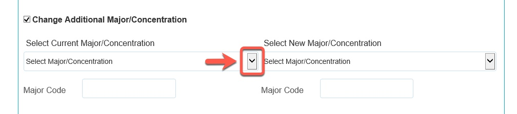 Arrow pointing to the Current Major / Concentration drop-down button