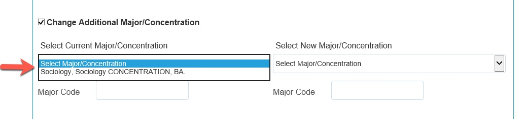 Arrow pointing to Current Major / Concentration options