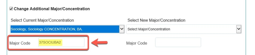 Arrow pointing to Major Code populated field