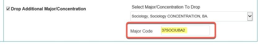Major Code populated field