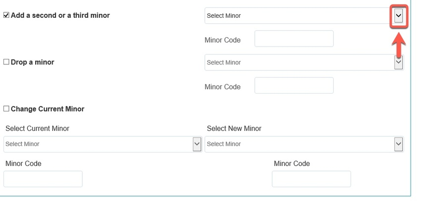 Arrow pointing to Select Minor drop-down button