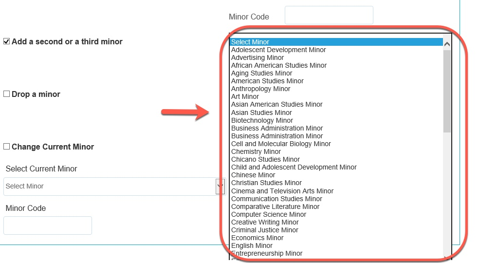 Arrow pointing to Minor Code options