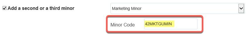 Minor Code populated field