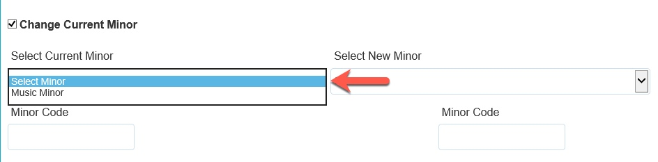 Arrow pointing to Select Current Minor options