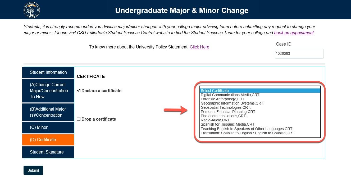 Certificate drop-down options