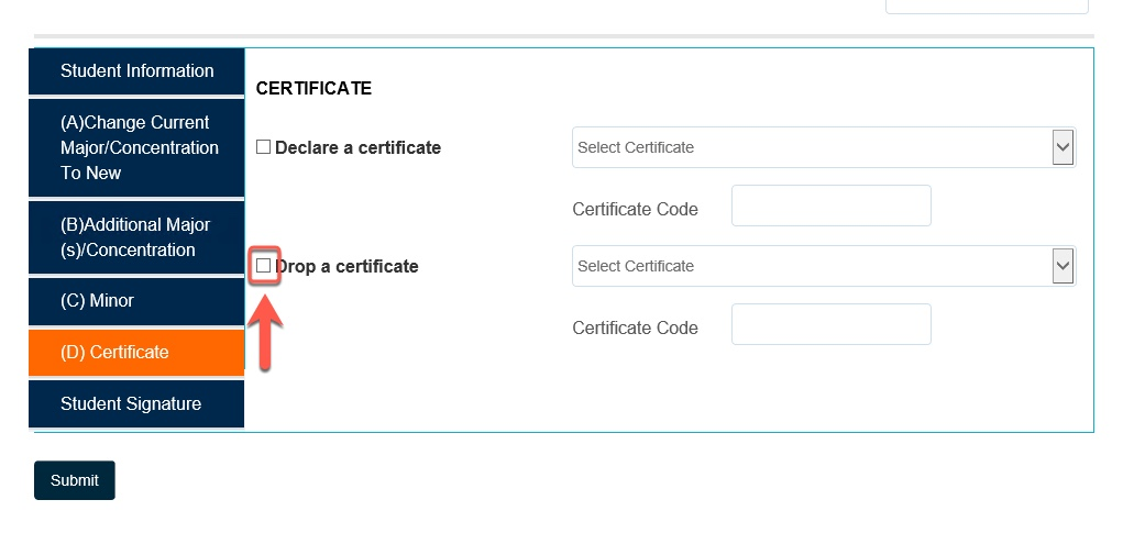 Arrow pointing to Drop a certificate checkbox
