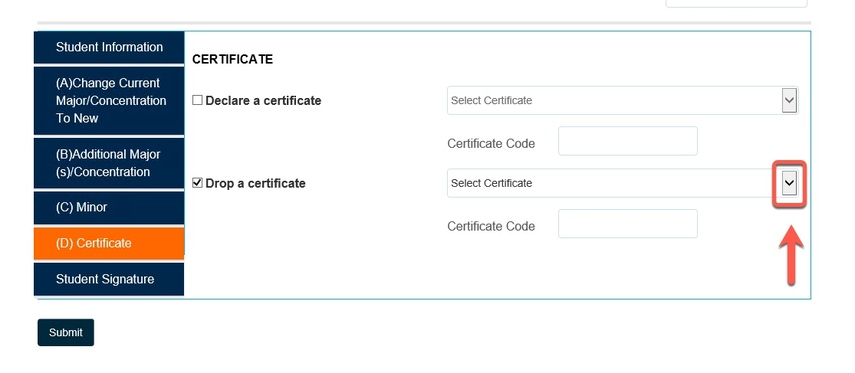 Arrow pointing to the Select Certificate drop-down field button