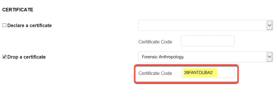 Highlight of Certificate Code field populated