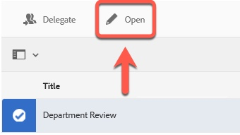 Arrow pointing to Open button