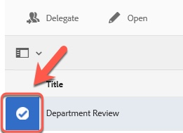 Arrow pointing to selected department icon