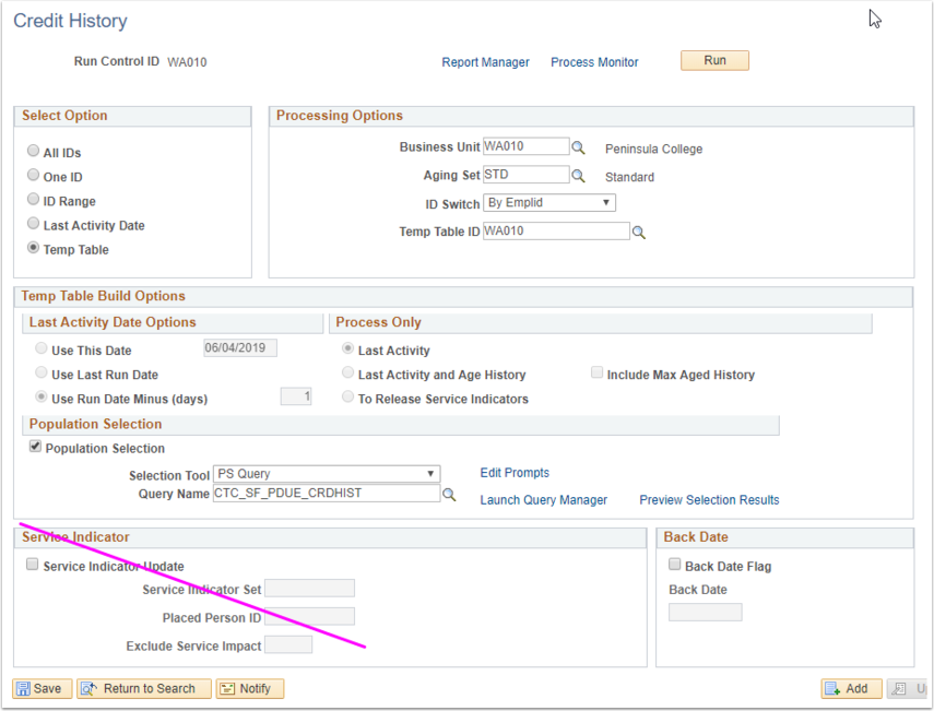 Credit History PeopleSoft page image