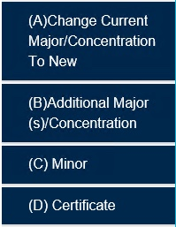 Tabs A-E (A-Change Current Major / Concentration To New, B-Additional Major(s)/Concentration, C-Minor, D-Certificate)