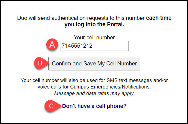 confirm cell phone