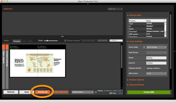 """Review the Issue by clicking on the """"Review All"""" button in the Mag+ Production Tool."""