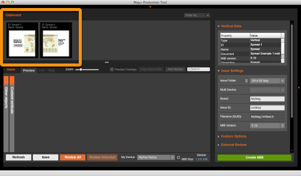 Now go to the Mag+ Production Tool and you will see both Verticals in the Clipboard area.