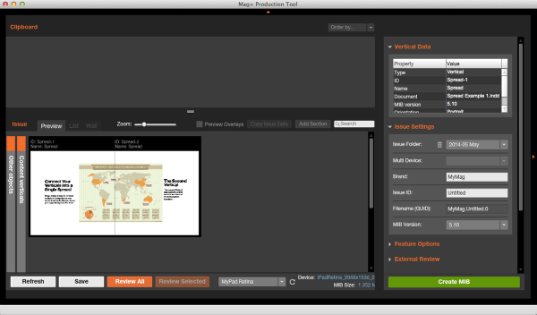 Drag one of the Verticals to the Issue area and you will see both thumbnails move as a single item.