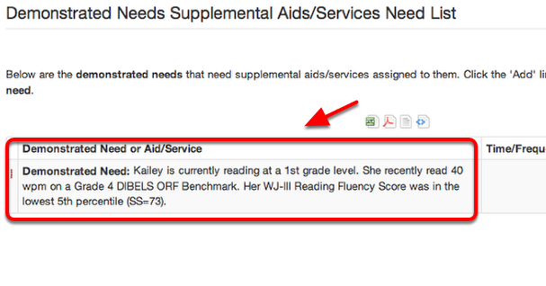 Complete the Supplemental Aids/Services Need List