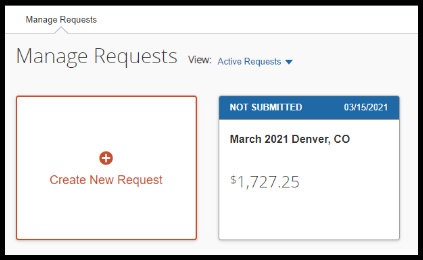 In the Manage Requests page, March 2021 Denver, CO request is available to click on.