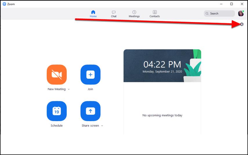 Zoom desktop client Home tab