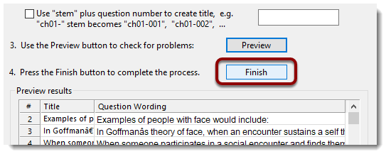 Finish button selected