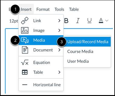 Abrir herramienta de carga de multimedia desde la barra de menú