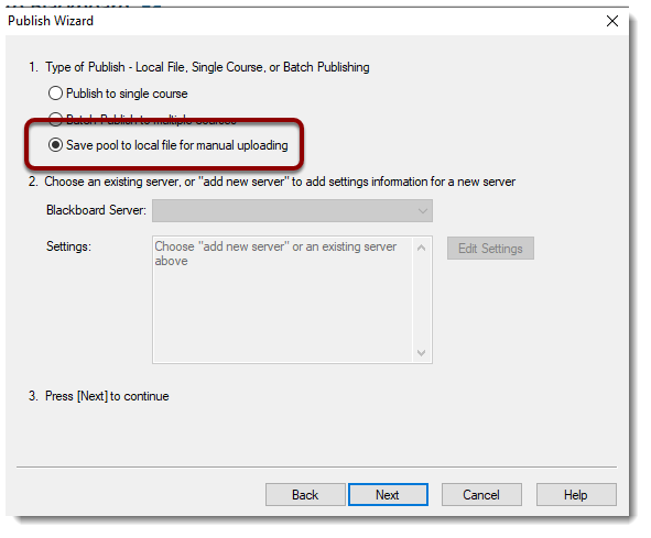 """Save pool to local file for manual uploading"" radio button"