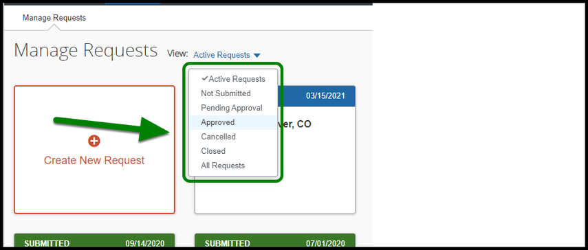 Green box highlight indicating location of Active Requests dropdown list.