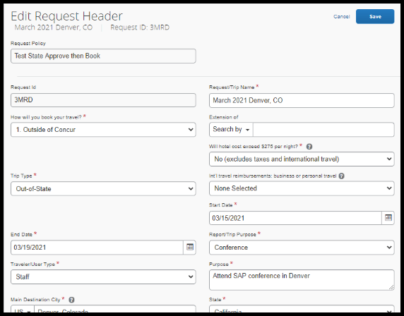 Report header on Travel Request with completed fields.
