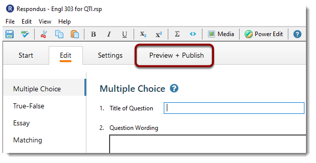 Preview + Publish button selected