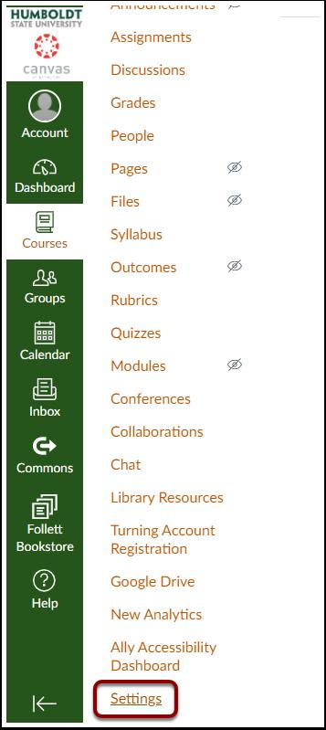 In the course menu click the orange Settings button.