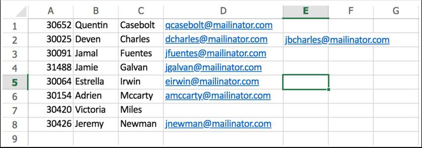Spreadsheet example photo