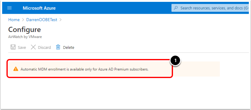 Ensure the Mobility (MDM and MAM) application is added in Azure