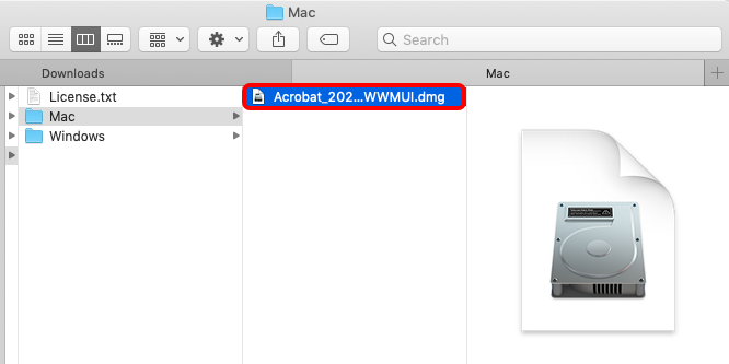 Open the AcrobatPro_11_Web_WWMUI.dmg file