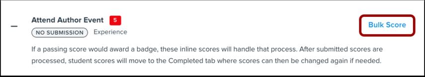 Bulk Score Requirement