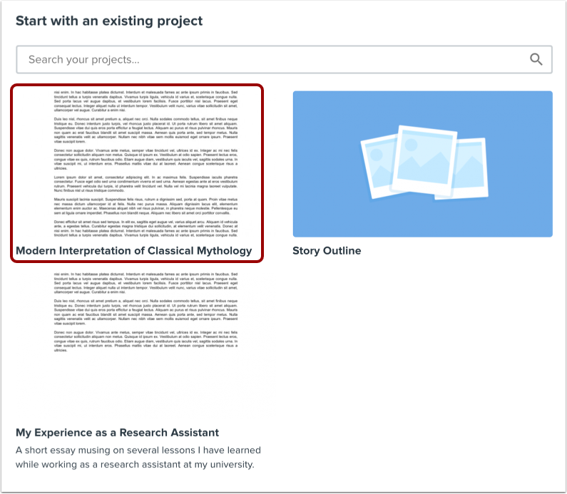 Select Existing Project