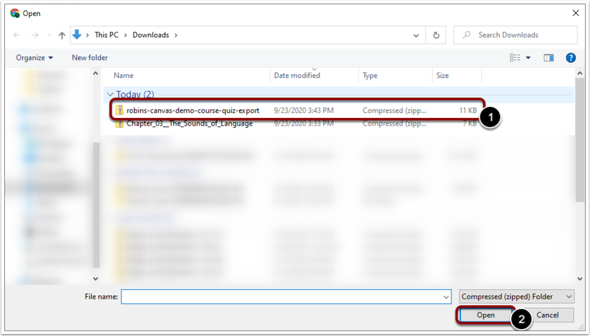 Select the file you have just downloaded via Export and click Open.