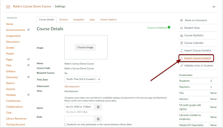 On the course settings page click Export Course Content in the right sidebar menu.