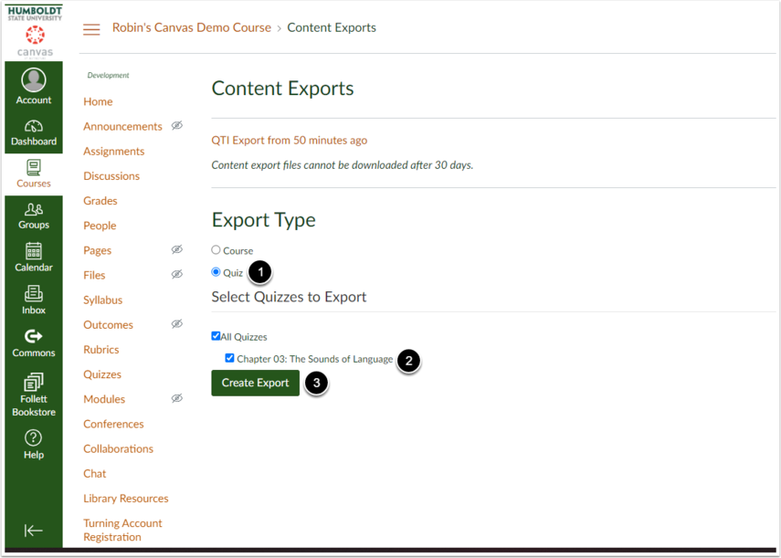 On the export screen select quiz as the export type, and then select whichever quizzes you wish to export.