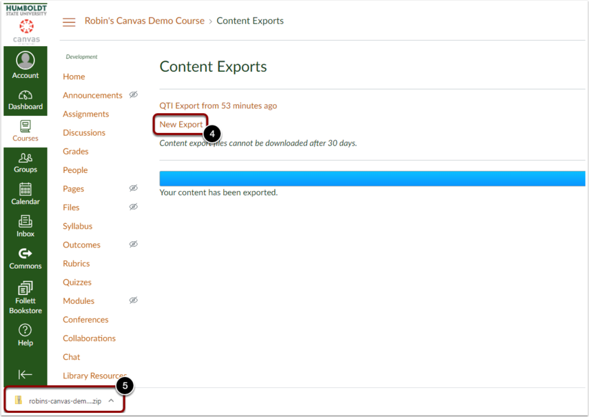 "Once it has completed exporting, click the ""New Export"" button to download the file."
